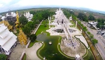 White Temple in Chiang Rai Aerial Video - Chiang Mai Video