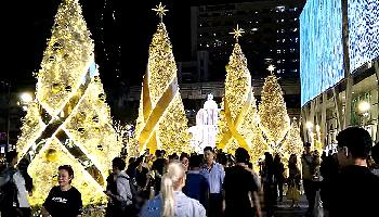 Weihnachtsdekoration am Central World Bangkok Feste + Feiern